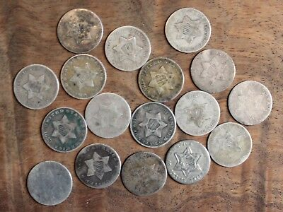 1851 1852 Etc. Silver Three Cent US Coin Lot Of 17 Mixed Dates .03 Cent Pieces