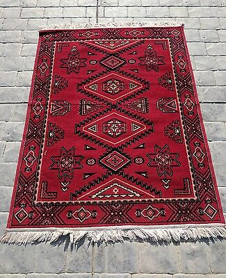 Vintage Throw Rug, Red and Black with White Trim