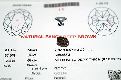 1.0 ct. Natural Fancy Deep Brown I1 Diamant, Ovalschliff, IGI Zertifikat