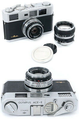 Olympus Ace E rangefinder Leica copy made Japan w/ Zuiko 4,5cm and 8cm lenses