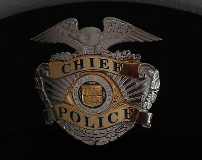 Los Angeles Police CHIEF hat - badge double screw back           L A P D