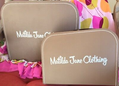 New Set Of 2 Matilda Jane Small Nesting Suitcases F/ Little Girls / Doll Clothes