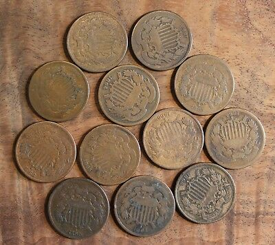 1864 1865 1866 1868 Two Cent Piece Lot Of 12 US Coins .02 Mixed Dates