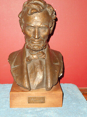 ABRAHAM LINCOLN BUST Sculpture Signed 1961 MASTERWORKS Company New York RARE