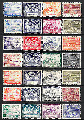 1949. 7 DIFF SETS. 75th ANNIV U.P.U. BARBADOS, NYASALAND, FALKLANDS etc. LMM/M