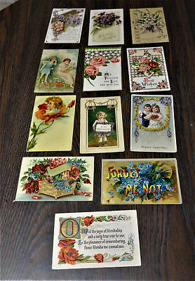 Lot# 19 (12) 1900 To 1910 Pc. Assorted.flowers, Boy,girls,churches, Gold Trim