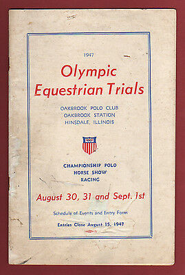 Orig.PRG   Olympic Games LONDON 1948 /USA Equestrian Qualif. 1947  !!  VERY RARE