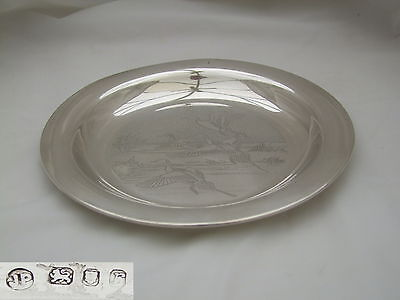 Superb Qe Ii Hm Sterling Silver Flying Duck Plate 1972