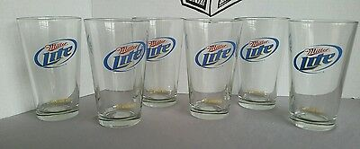 """Set of 6 Miller Lite in yellow """"Taste Activator Glass"""" Clear Glasses Drinkware"""