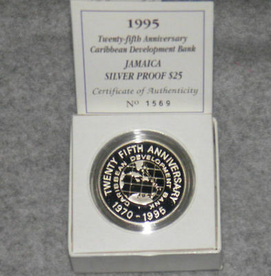 1995 Jamaica Silver 25 Dollar Proof 25th Anniversary Caribbean Develpment Bank