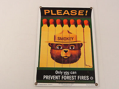 Ande Rooney Porcelain Advertising Sign Smokey Bear Prevent Forest Fires