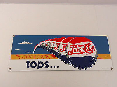 Ande Rooney Porcelain Advertising Sign tops.... Pepsi Cola