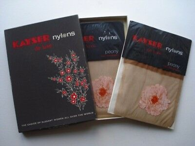 2 PAIRS KAYSER-de-Luxe PEONY FULLY FASHIONED VINTAGE NYLON STOCKINGS
