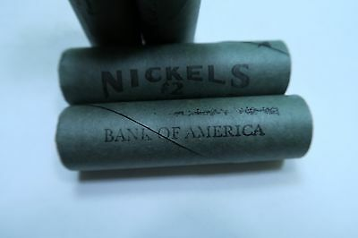 (5) Old Sealed Buffalo Nickel Rolls // (stamped) BANK OF AMERICA // 5 Rolls