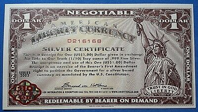 2003 NORFED $1 American Liberty Currency Warehouse Receipt - Crisp-D216167