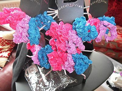 54 scrunchies 9 sets of 6  2 pink 2 blue 2 purple in each set all new