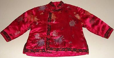 Vintage Oriental China Quilted Children's Girl Red Silk & Embroidered Jacket