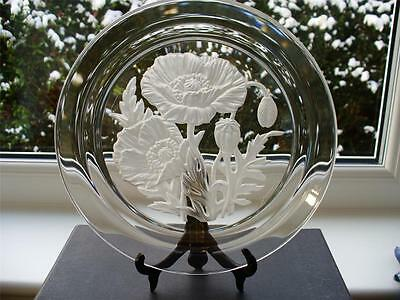 Vintage 80s Japanese Crystal Plate - Deeply Engraved Poppy Decoration T Yamamoto