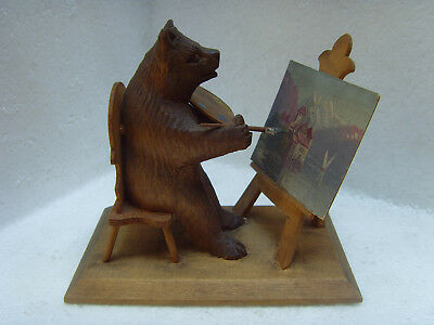 Antique Carved Wooden Swiss Black Forest Bear Artist Painting on Easel SIGNED