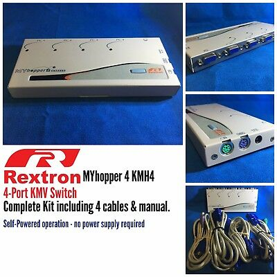REXTRON ●● MYhopper 4 KMH4 4-PORT KMV SWITCH With All Cables & Manual ●●