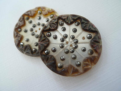 Beautiful Georgian Antique Mother of Pearl Buttons 18th c. Steel Inlay