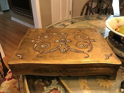 VINTAGE ITALIAN FLORENTINE GILDED WOOD FOOTED JEWELRY LARGE BOX ITALY w KEY