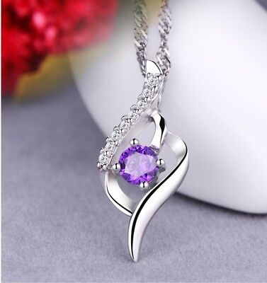 925 Sterling Silver Amethyst Crystal Angel Wing Pendant Necklace Chain Box J6
