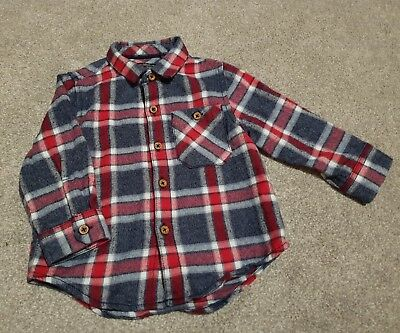 next baby boy 9-12 months red blue check shirt bnwot