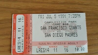 Used Baseball Ticket San Francisco Giants V San Diego Padres  1991