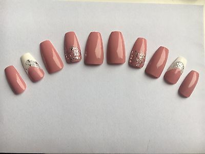 20 x Hand Painted False Nails Nude, White & Glitter Design Full Cover With Glue