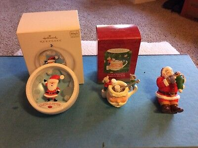 Hallmark Christmas Ornament, lot of 3, Santa Claus Ornaments Free Shipping
