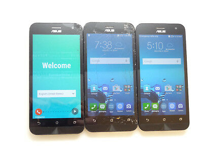Lot of 3 ASUS Zenfone 2E AT&T Smartphones 2 Cracked AS-IS GSM