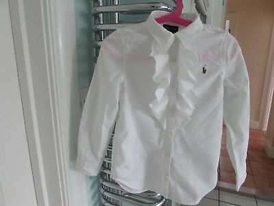 Gorgeous genuine RALPH LAUREN frill detail white blouse 6 years