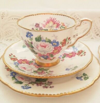 Beautuful Royal Stafford Vintage Trio China Cup Saucer Plate Set Floral & Gold