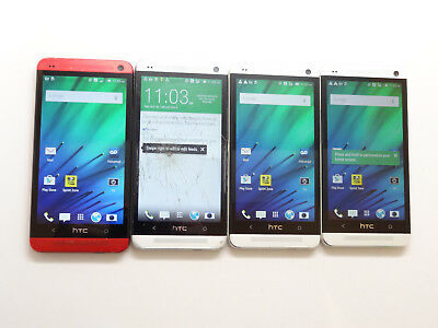 Lot of 4 HTC One M7 Sprint PN07200 32GB Smartphones AS-IS GSM