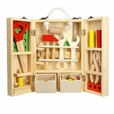 Kids 25pc Wooden Carpenter Carry Tool Box Pretend Play Set Toy Natural Timber