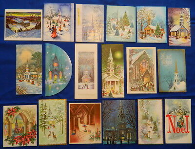 1940s-70s vtg CHRISTMAS CARDS x 18 FAMILIES GO TO CHURCH Tree People Round Card