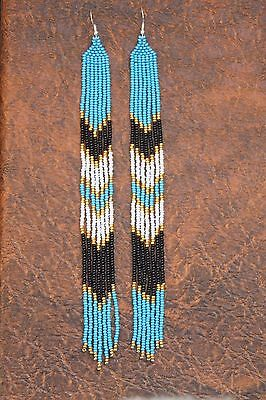 Native American Earrings  Beaded Extra Long blue,gold seed bead Earrings New