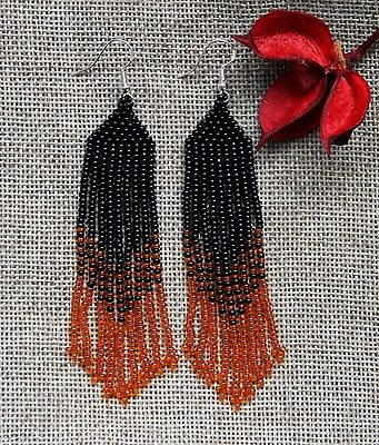 Native American Style Earrings handmade black, orange seed bead Earrings New