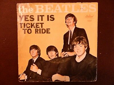 """THE BEATLES 45 picture sleeve only Capitol 5407 """"YES IT IS"""" """"TICKET TO RIDE"""""""