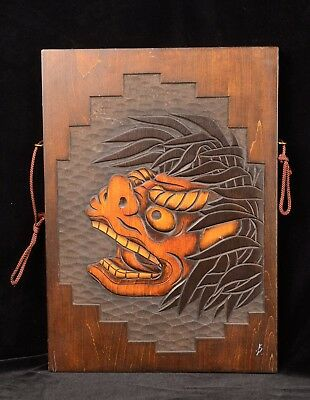 "Vtg Japanese Art ONI DEMON WoodCUT Wall Hanging Plaque ~10"" x 14"" Signed"