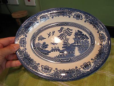 EIT English Ironstone Tableware Blue & White Old Willow Pattern Oval Plate VGC