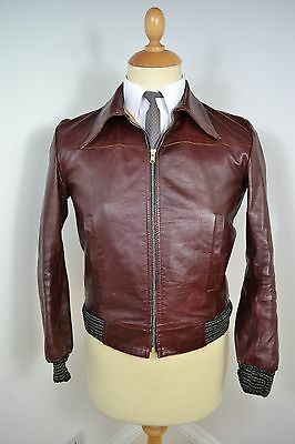 VINTAGE 1970's OXBLOOD MEN'S LEATHER BLAZER COAT JACKET UK MADE SMALL 36 SHORT
