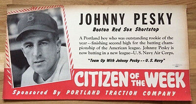 Johnny Pesky Boston Red Sox 1941 bus placard sign WWII U.S. Navy
