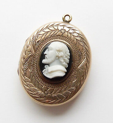 Rare Victorian 9ct Gold & Carved Agate Cameo Locket c1880 - William Shakespeare