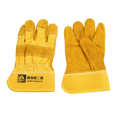 Cowhide leather Welder Welding Gloves Wearable Protective Work Gloves 25CM