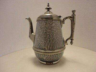 Graniteware Coffee Pot With Pewter Fittings