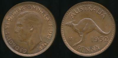 Australia, 1952(m) One Penny, 1d, George VI - Uncirculated