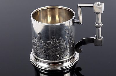 """Antique Imperial Russian Silver 84 Cup Tea Glass Holder """"TROIKA"""""""