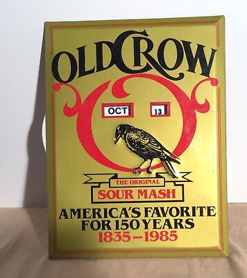 Tin Old Crow Sour Mash Calender Sign